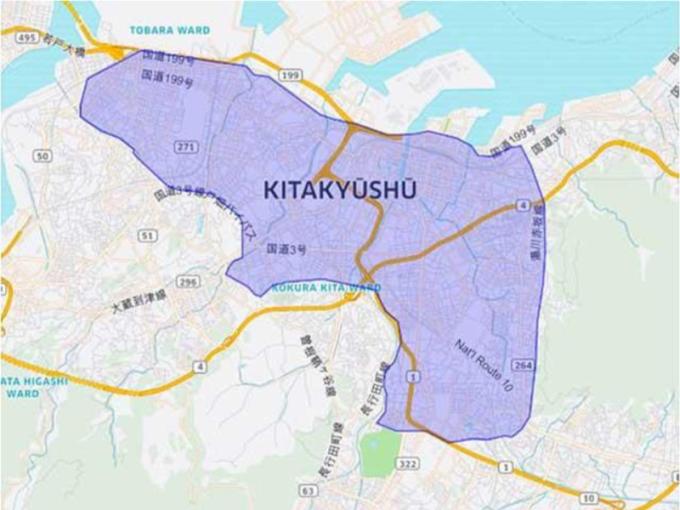 Uber Eatsの北九州市のエリアマップ