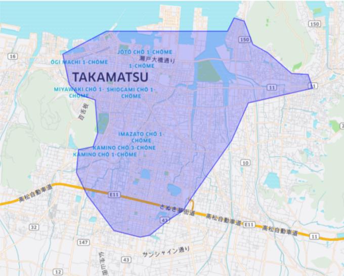 Uber Eatsの高松のエリアマップ