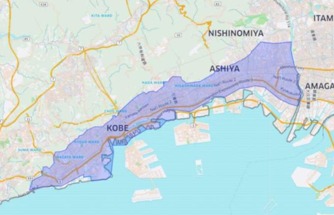 Uber Eatsの神戸のエリアマップ
