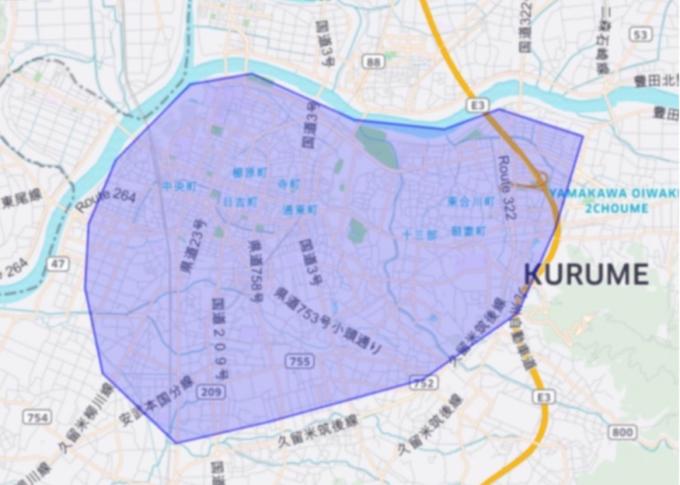 Uber Eatsの久留米市のエリアマップ