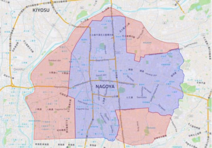 Uber Eatsの名古屋のエリアマップ