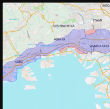 Uber Eatsの神戸エリアの尼崎市あり