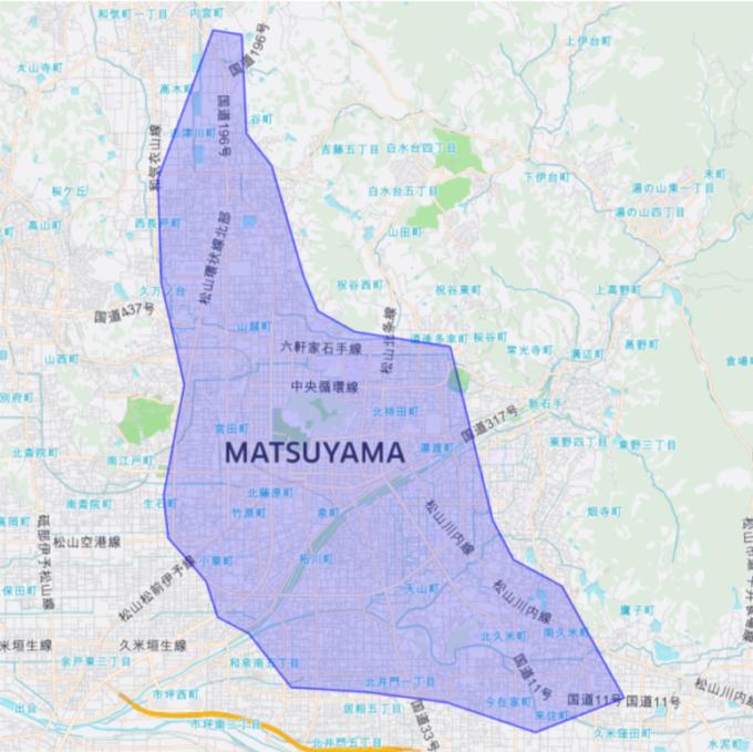 Uber Eatsの松山のエリアマップ