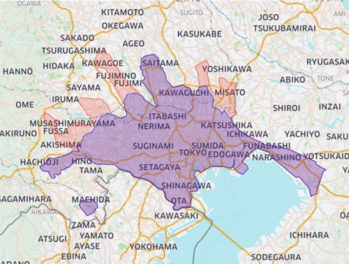 Uber Eatsの東京のエリアマップ