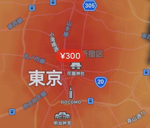 Uber Eats ヒートマップ