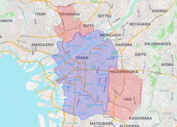 Uber Eatsの大阪のエリアマップ