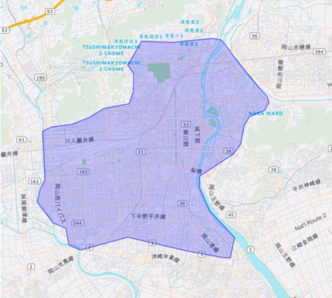 Uber Eatsの岡山のエリアマップ